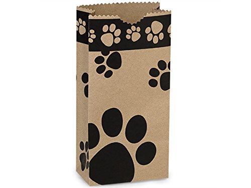 Bulk 2lb Bag Kraft Paw Print GiftSack 4-1/4x2-3/8x8-3/16'' (1 unit, 250 pack per unit.)