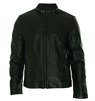 Calvin Klein Men's Quilted Yoke Faux-Leather Moto Jacket