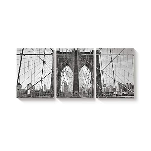 (3 Piece Canvas Wall Art Black and White Toned Brooklyn Bridge Oil Paintings for Home Decoration Living Room Bedroom Modern Artwork Stretched and Framed Ready to Hang - 12