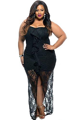NEW Femme de plus en dentelle Noir Taille maxi robe robe de soirée usure Plus Taille 14–16