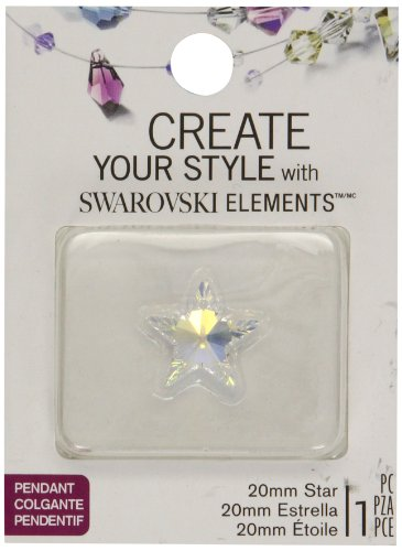 Swarovski Elements Star Pendant, Crystal AB, 20mm