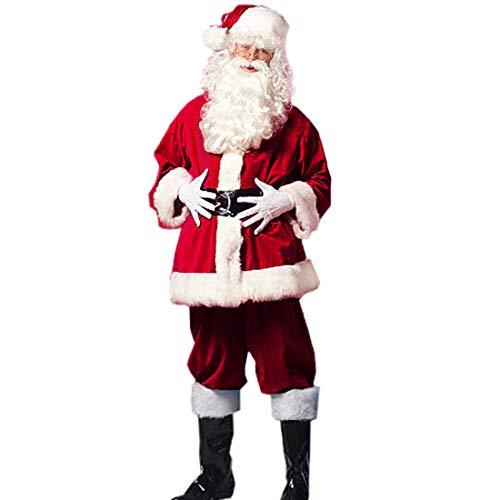 Santa Pub Crawl Costumes (Christmas Santa Claus Costumes Plush Men's Pub Flannel Crawl Santa Suit Xmas Suit Dark Red (Dark)