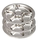 Aspire Round Dinner Plate/Tray with Mirror Finish, Stainless Steel, 3 Pcs-6 Sections