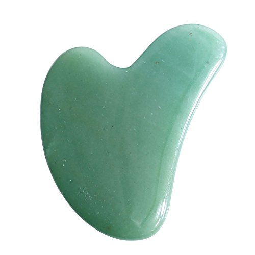 CCbeauty Gua Sha Scraping Massage Tools Natural Stone 100% Handmade Guasha Board For SPA Acupuncture - Hearted Shaped Aventurine (Jade Massage Stones)