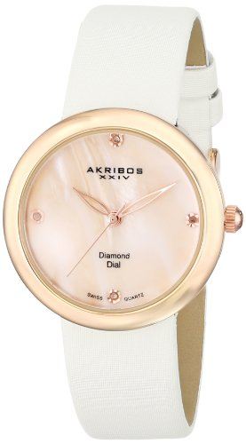 Akribos XXIV Women's AK687RGW Impeccable Swiss Quartz Diamond Mother-of-Pearl Satin Strap Watch (Mother Of Pearl Womans Watch)