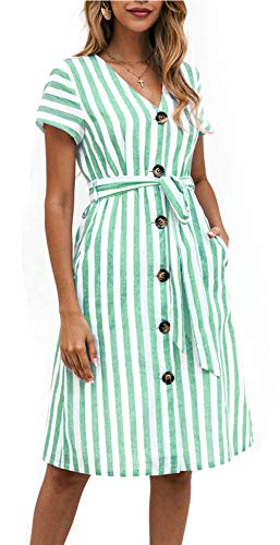 OEUVRE Women Short Sleeve V Neck Belted Tie Waist Button Down Shirt Dress Striped Dress with Pocket (Large, Green)
