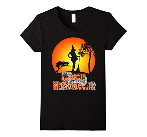 Female Mashup Costumes (Womens Cute Funny Halloween witch shirt,Costume Party T-Shirt Small Black)