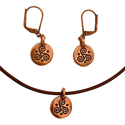DragonWeave Triskele Circle Charm Necklace & Earring Set, Antique Copper Brown Leather Adjustable ()