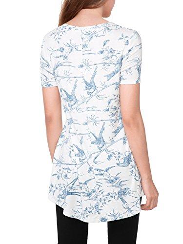 BAISHENGGT-Blusa Top para Mujer Estilo Holgado Mangas Cortas Blanco