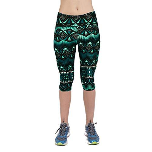 iHPH7 Leggings for Women high Rise Leggings Women Print High-Waist Hip Stretch Running Fitness Yoga Pants Seven-Minute Pants (L,6- Green) ()
