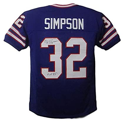 f9dd9c4b4e4 OJ Simpson Autographed Buffalo Bills Custom Size XL Blue Jersey HOF ...