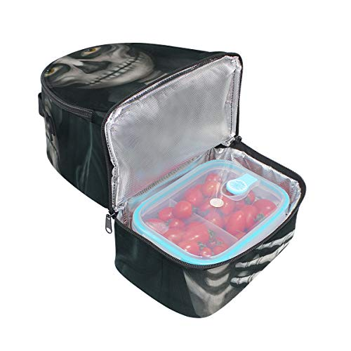 (Top Carpenter Lunch Box Adult Lunch Bag Insulated Food Storage Containers Halloween Makeup Skeleton Double Deck For)
