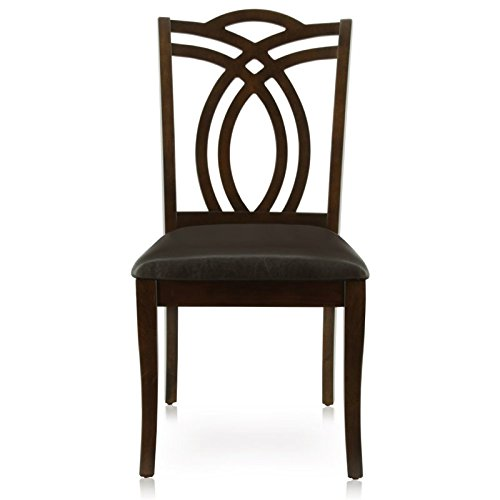 Furniture of America Fluxeur Padded Leatherette Side Chair, Dark Walnut Finish, Set of 2 ()