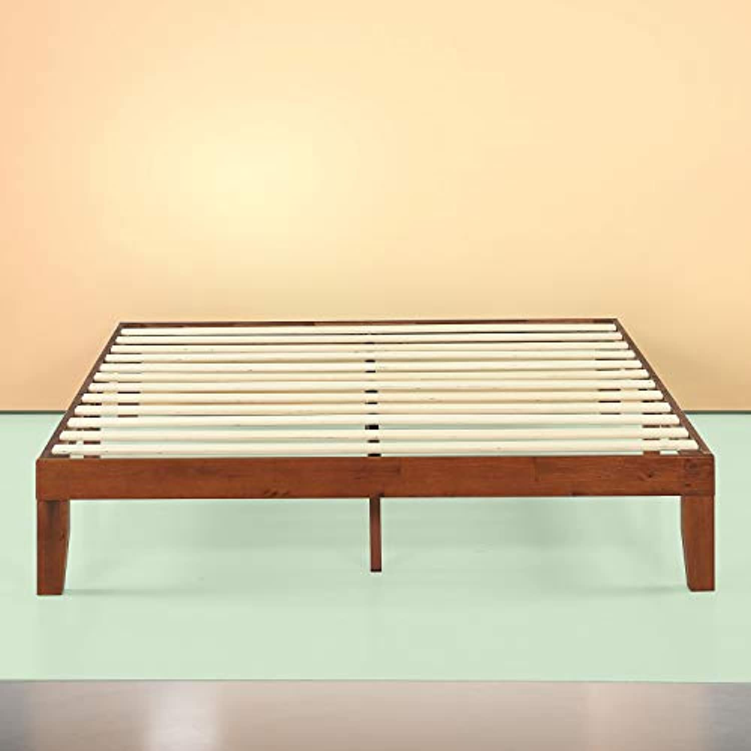 Zinus Wen 12 Inch Wood Platform Bed Frame / Solid Wood / Mattress Foundation with Wood Slat Support / No Box Spring Needed / Easy Assembly, Queen