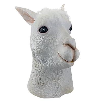 Gmasking Natural Latex Alpaca Head Halloween Mask White: Clothing