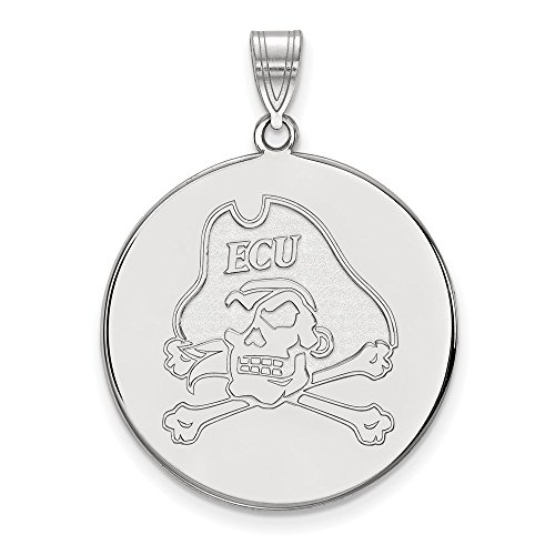 - Jewelry Stores Network East Carolina University Pirates Mascot Logo Disc Pendant in Sterling Silver XL - (26 mm x 25 mm)