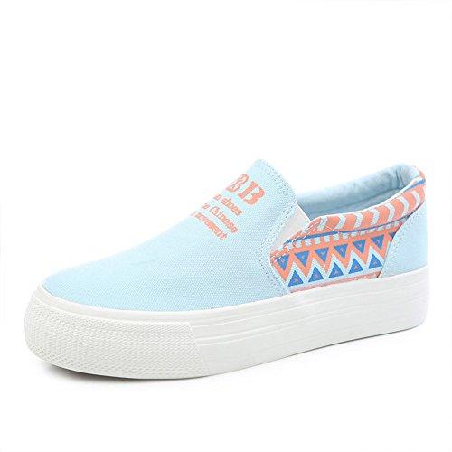 Ventilación de verano Lok Fu zapatos/Zapatos de lona de pedal/Muffin con estudiantes y zapatitos blancos/Zapatos de suela gruesa B