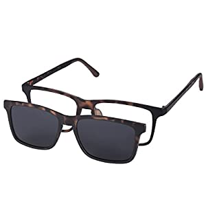 O-LET Eyeglass Frames for Prescription with Clip On Sunglasses Polarized for Women Men (Tortoise Frame)