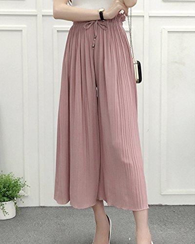 Eleganti Alta Palazzo Pink Larghi Cintura Di Donna Pantaloni Elasticizzata Pantaloni Vita Baggy Casual Chiffon Pantaloni Estivi XqSBp