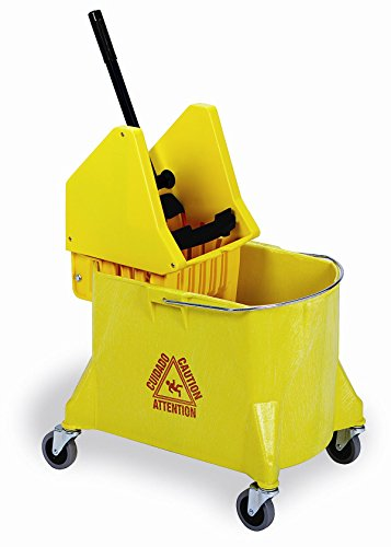Continental 404-37YW, Yellow 44 Quart Structolene Mop Bucket with SW7 Down-Press Wringer (Case of 1) by Continental