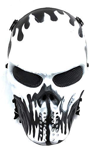 Everlife Shop CS Protective Mask Halloween Airsoft Paintball Full Face Skull Skeleton Mask (Black/White)