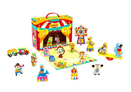TOYSTER'S Wooden Play-A-Role Circus Playset for Toddlers | Wood Circus Figures and Animals Toys | Educational Toy is Great for Building Blocks | Play Set Suitable for Boys and Girls Ages 2 and Up (Circus Toys)