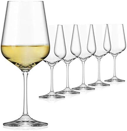 SAHM Juego de 6 copas de vino blanco de 360 ml, aptas para lavavajillas, duraderas copas de vino blanco