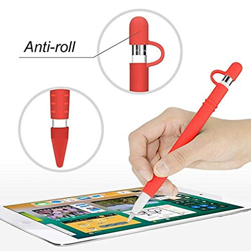 Hot Sale!DEESEE(TM)Magnetic Sleeve Soft Silicone Holder Grip Set For Apple Pencil (Red) -