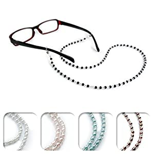 Kalevel Eyeglass Chain Holder Glasses Strap Eyeglass Chains and Cords for Women (White)