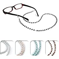 Kalevel Eyeglass Chain Holder Glasses Strap Beaded Sunglass Chain Women with Bonus 2pcs Anti Slip Eyewear Retainer