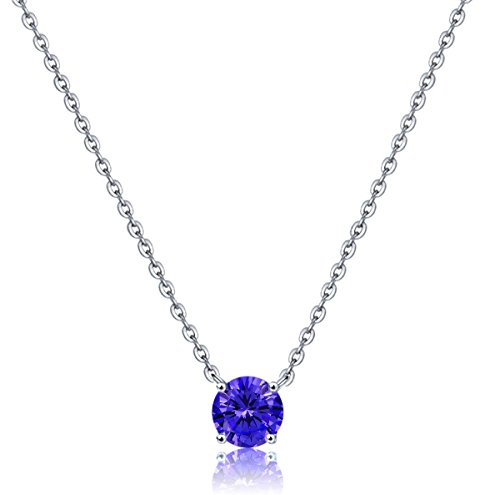 Bella.Vida Womens Sterling Silver Simulated September Birthstone Pendant Necklace with 8mm Swarovski Elements Crystal Length:16