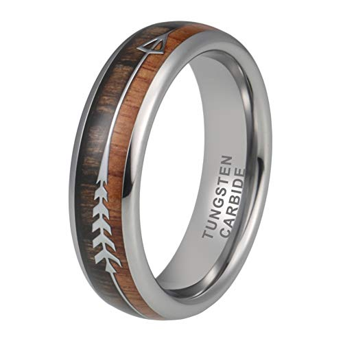 iTungsten 6mm Tungsten Rings Mens Womens Wedding Bands Koa Wood Arrow Inlay Hunting Outdoor Jewelry