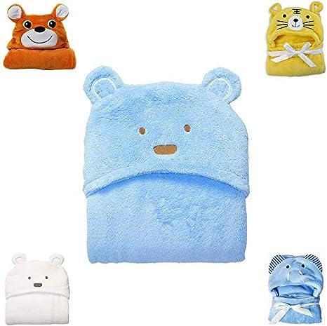 Bath Wrap Blanket Soft Coral Fleece Animal Poncho for Newborn Girls Boys Bathrobe with Ears Hypoallergenic Hooded Baby Towel 0-24 months