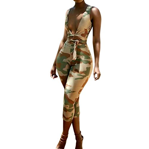 Minisoya Women Two Piece Casual Outfit Bandage Camouflage Vest T-Shirt Crop Tops Pencil Leggings Cropped Pants Set (Green, L) by Minisoya