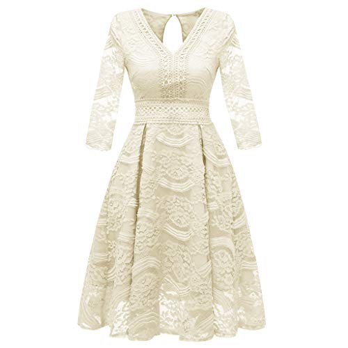 Lelili Women Elegant Party Dress Floral Lace Long Sleeve V Neck Pleated Swing A-Line Prom Wedding Dress Beige