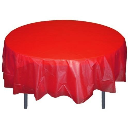 (12-Pack Premium Plastic Tablecloth 84in. Round Table Cover - Red)