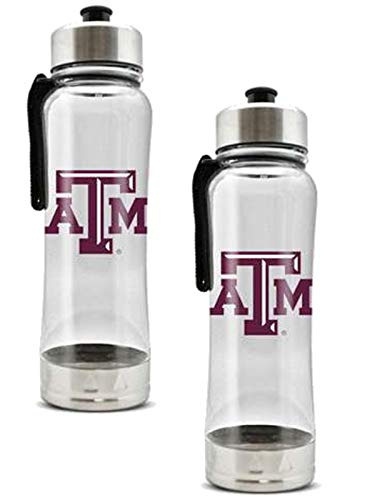 Duck House Official National Collegiate Athletic Association Fan Shop Authentic 2-Pack NCAA College Clear Clip-On 16oz Stainless Steel Water Bottle Bundle (Texas A&M Aggies)