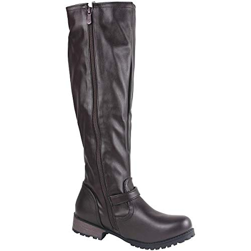 Brown Buckle Wide Ladies Biker Zip Winter High Boots Long Leather Womens Boots Knee Calf Side Wealsex Flats Boots Riding Dark Hwq1ZaWWg