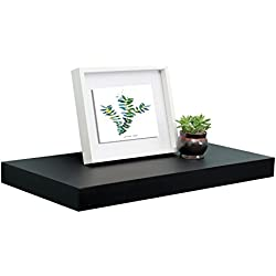 "WELLAND 12"" Depth Floating Wall Shelf, Black Floating Shelf Display Floating Shelf, 24"" L x 12"" D x 2"" T, Deeper Than Others, Black"