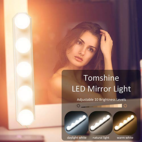 Tomshine Led-spiegellamp met USB, 3 kleurmodi, make-uplamp voor spiegel, 10 niveaus dimbaar en IP43 waterdicht, 8 W