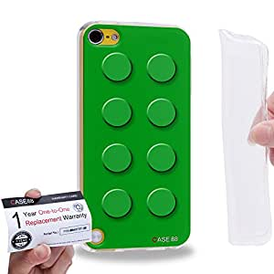 Case88 [Apple iPod Touch 5] Gel TPU Carcasa/Funda & Tarjeta de garantía - Art Fashion Green Building Blocks 1584