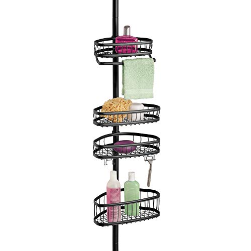InterDesign York Metal Wire Tension Rod Corner Shower Caddy, Pole, and Baskets for Shampoo, Conditioner, Soap, Adjustable from 5'-9', Matte Black