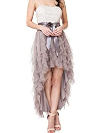 Women Ankle Length Bow High Low Ruffles Tulle Party Skirt