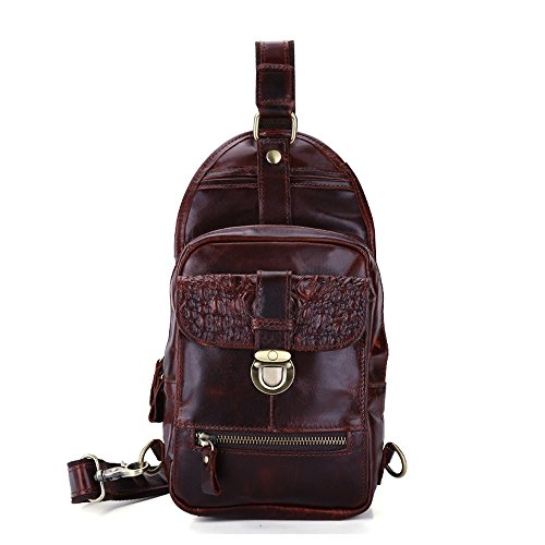 Ybriefbag Sports Women Leather Sling Hiking Crossbody School Backpack Men Bag Working Red Travel Body Cross for for Outdoor Chest Backpack Shoulder Pack Vintage Business Cycling Genuine rfx5rqAp