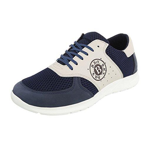 Leder Top Ital Beige Design Blau Herrenschuhe Turnschuhe Low Schnürsenkel Schnürer Sneaker qdTU1wx