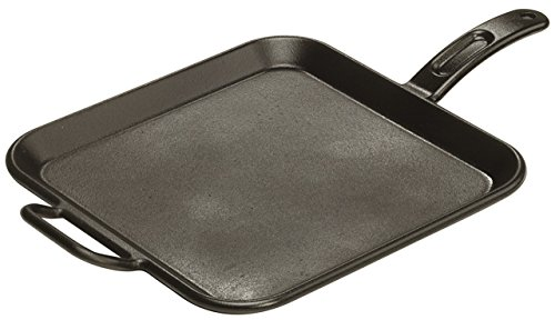 (Lodge Pro-Logic 12 Inch Square Cast Iron Griddle. Pre-Seasoned Grill Pan with Dual Handles)