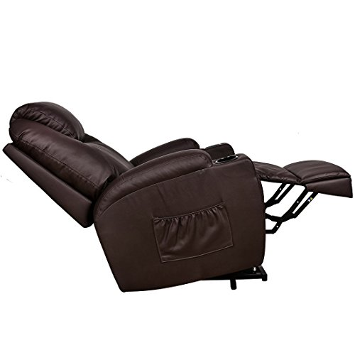 MAGIC UNION Power Lift Heated Vibrating Electric Massage Recliner Chair with Remote- Brown