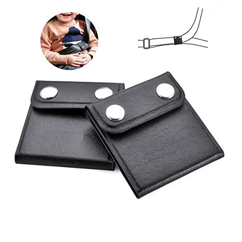 2 Pack Seat Belt Adjuster,Comfort Auto PU Leather Shoulder Neck Strap Positioner,Locking Clip Protector,Vehicle Car Seat Belt Safety Covers for Adults, Pregnant Woman,Kids & Baby (Black)