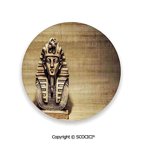 Ceramic Coaster With Cork Mat on the back side, Tabletop Protection for Any Table Type, round coaster,Egyptian,Stone Pharaoh Tutankhamen Mask Sculpture Papyrus,3.9