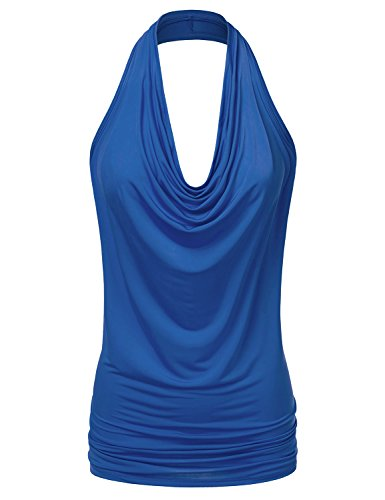 NINEXIS Women's Halter Neck Draped Front Open Back Top ROYAL M